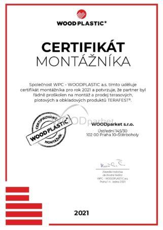 Certifikát montážníka 2021 Woodplastic pro společnost Woodparket