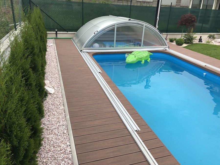 obklad bazénu dřevoplastem, woodparket